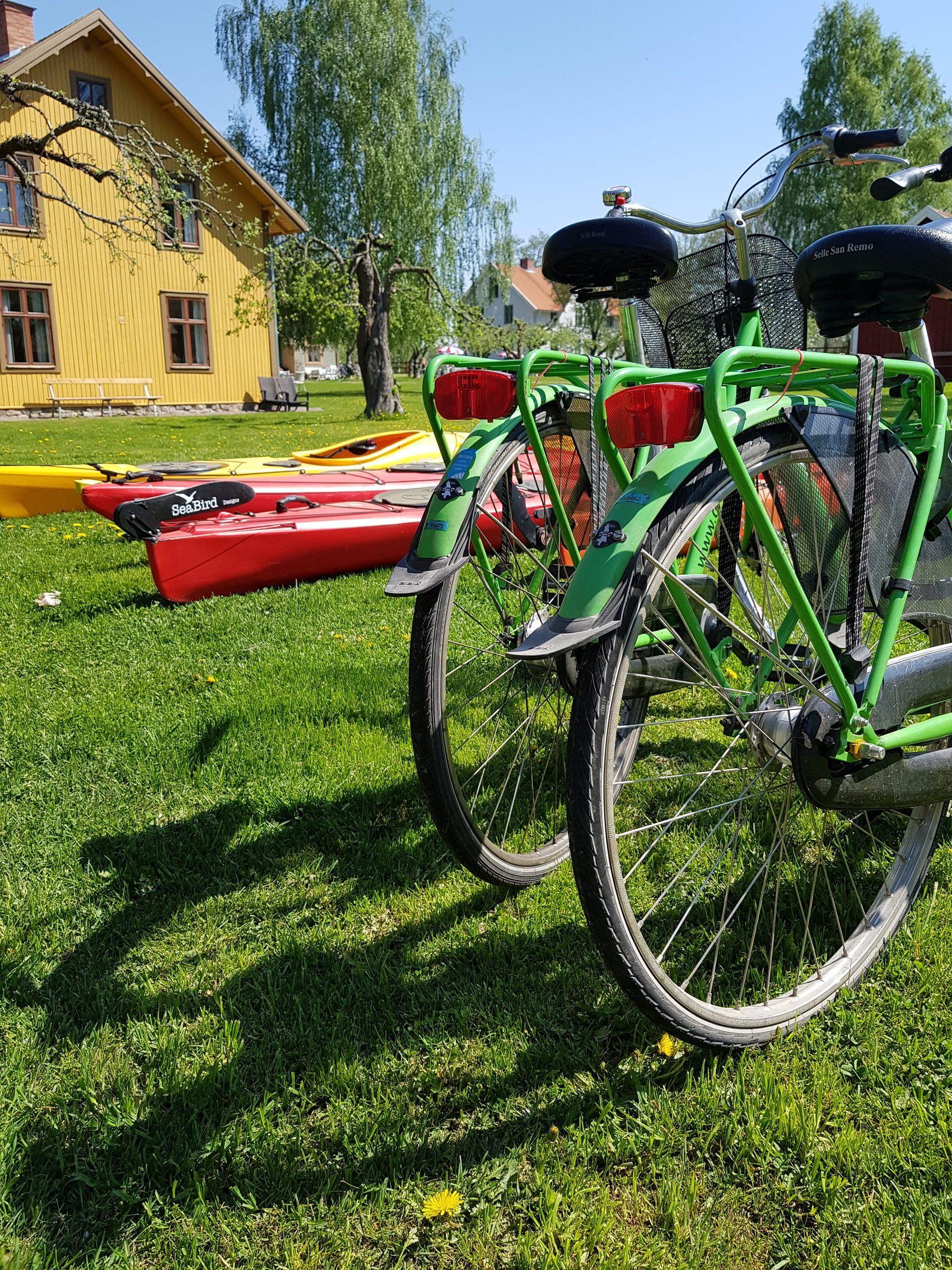 Två gröna cyklar står uppställda på en gräsplan. I bakgrunden ligger röda och gula kanoter.