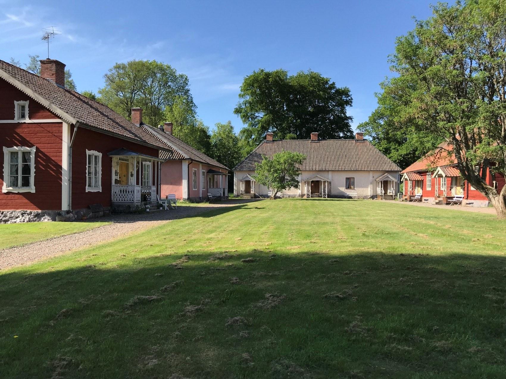 Gräsplan med äldre hus i bakgrunden
