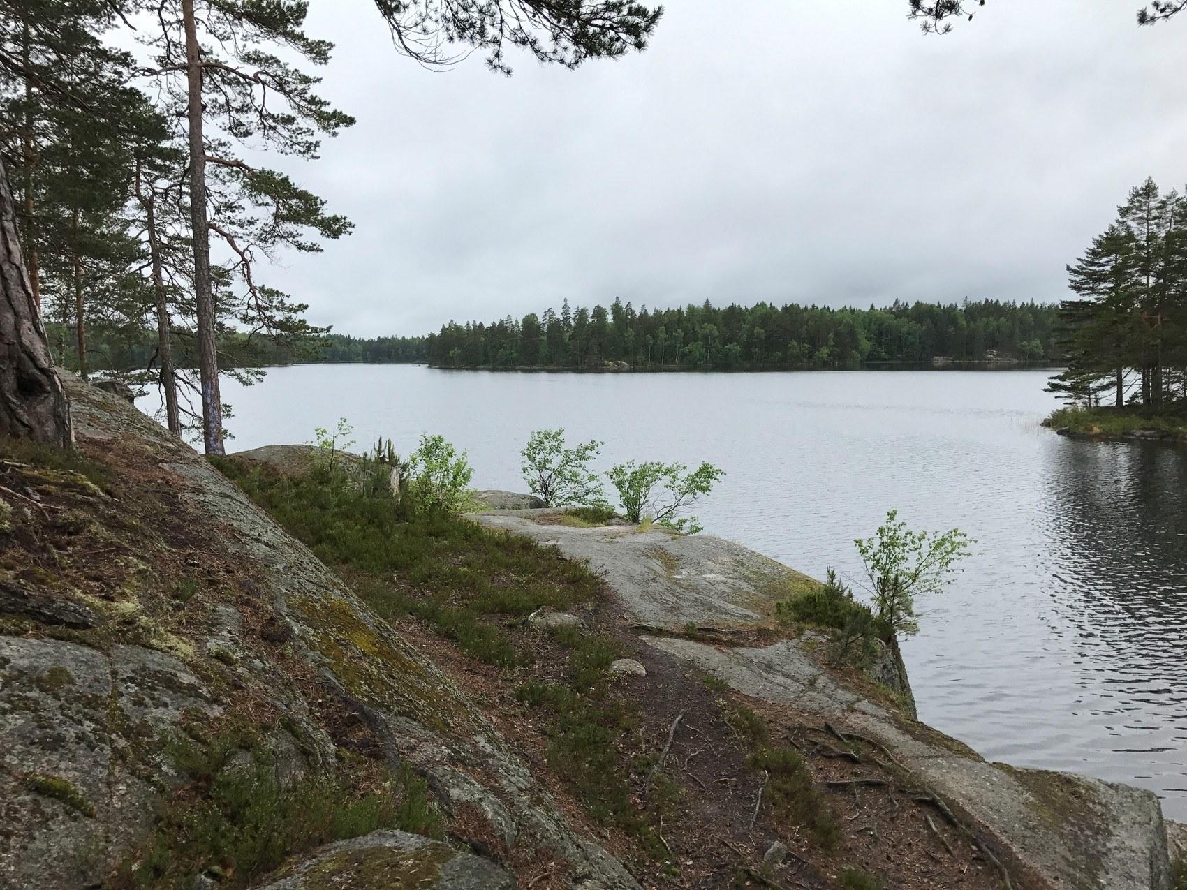 Stenklippor vid skogsjö