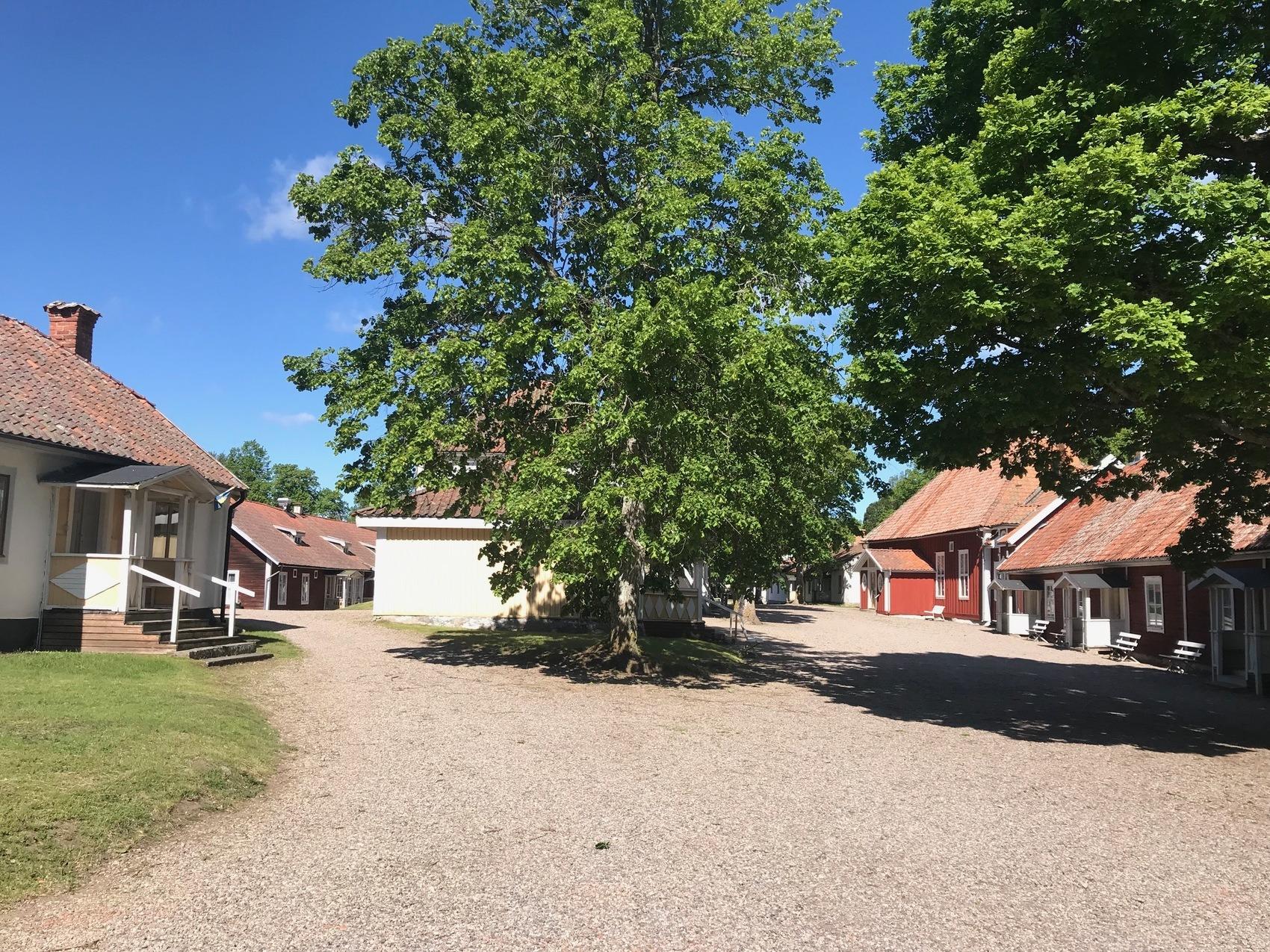 Grusgård med äldre hus runt om