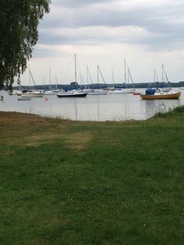 En grön gräsmatta i förgrunden, ett tiotal båtar som ligger förtöjda i Vättern i bakgrunden.