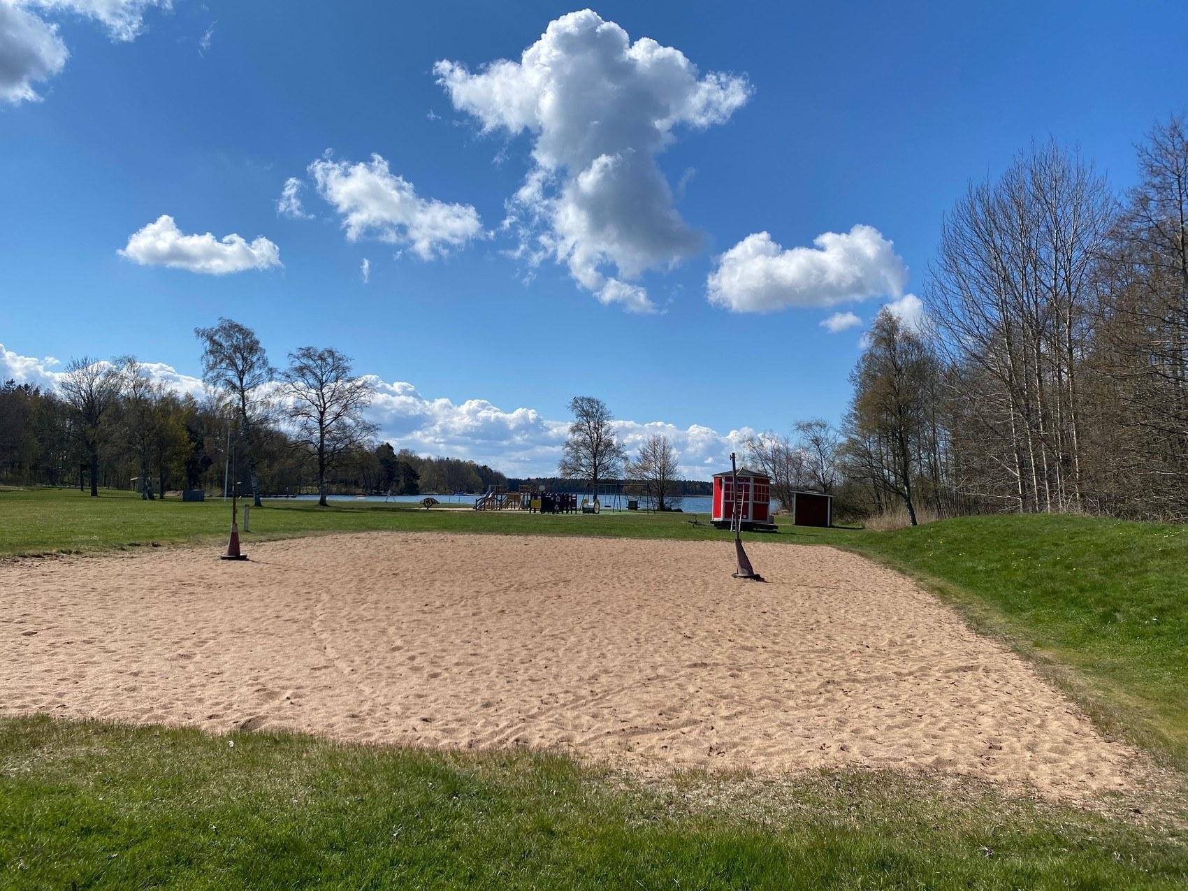 Sandplan med nät