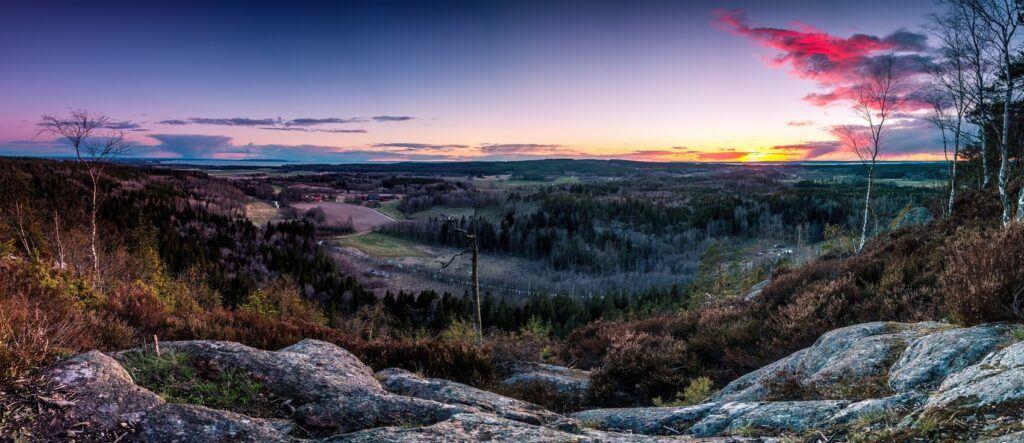 Magisk utsikt från berg över landskap med skog