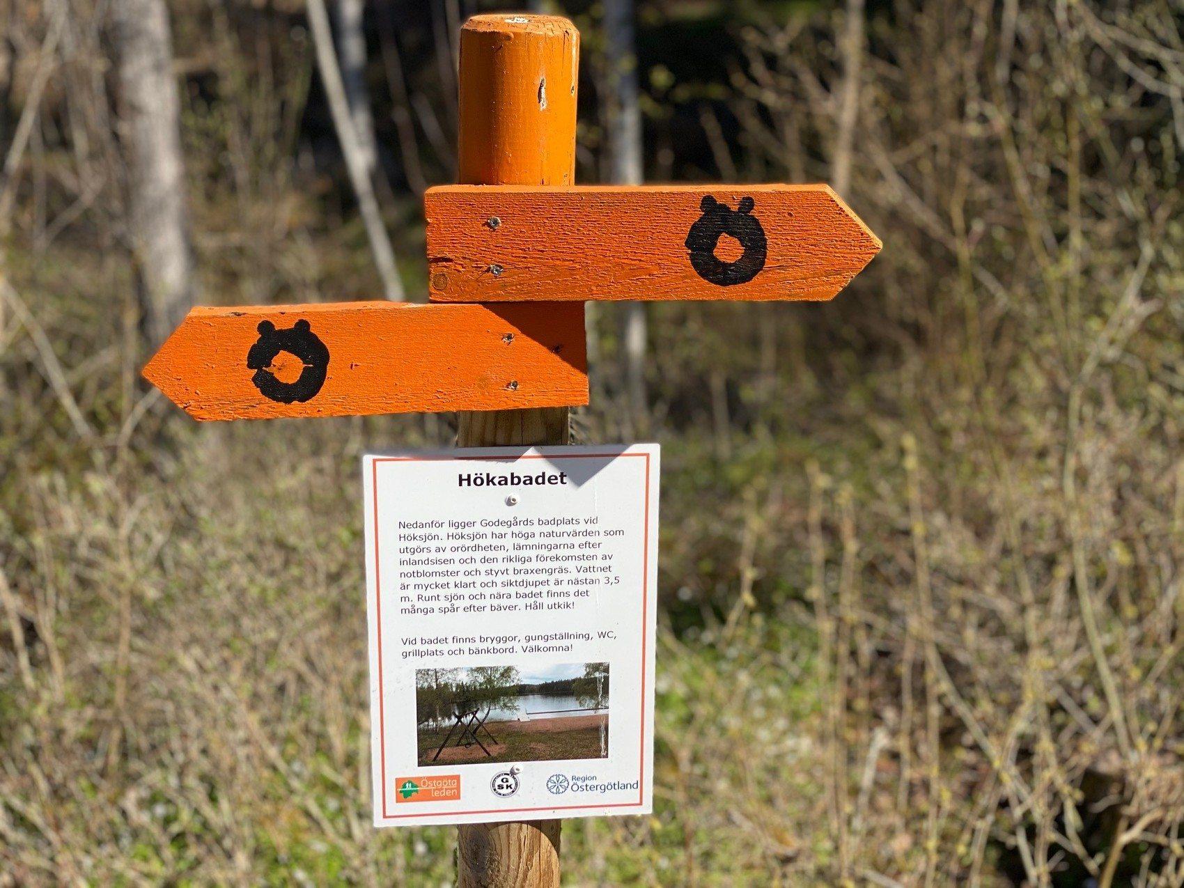 Orangea skyltar som markerar Östgötaleden