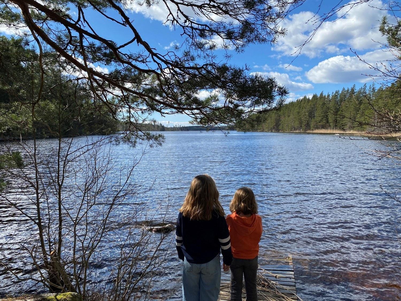 Två barn står med ryggen mot kameran och blickar ut över skogsjö.