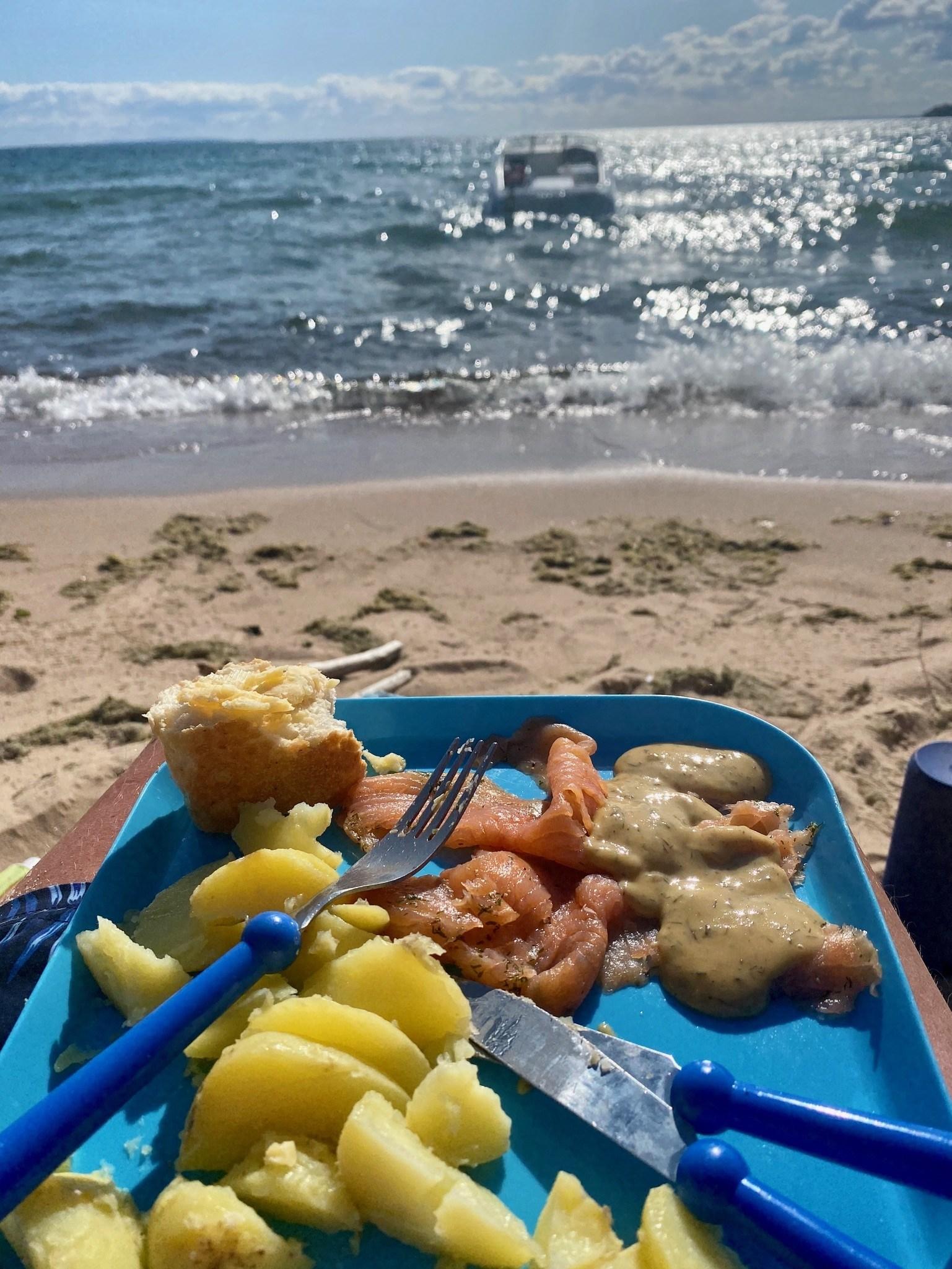 En blå tallrik med potatis och fisk. I bakgrunden syns en sandstrand och en båt som guppar i vattnet.