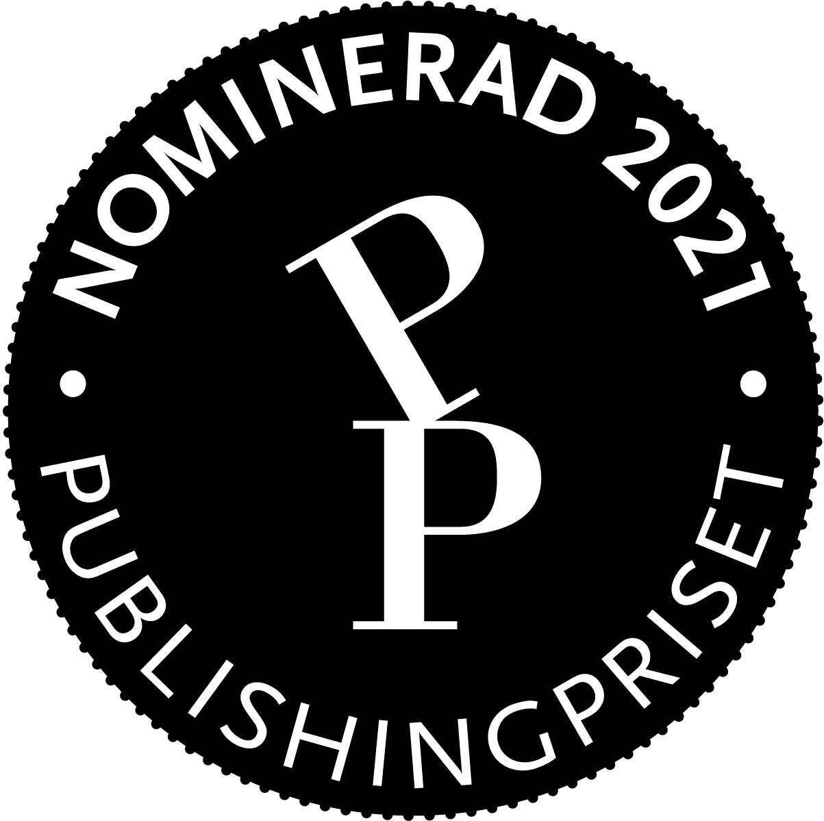 "Emblem med texten ""Publisingpriset - Nominerad 2021"""